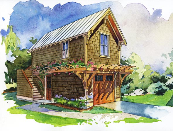 The cherry studio one perfect little house for Small house over garage plans