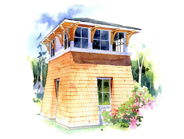 The tower studio perfect little house for Tower house plans